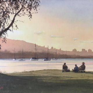 James McKay Sundowners on the Tweed watercolour